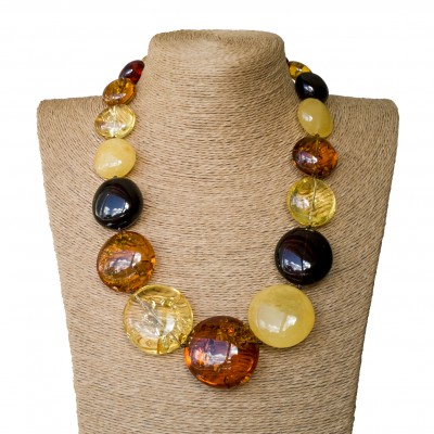 XL round mix statement necklace