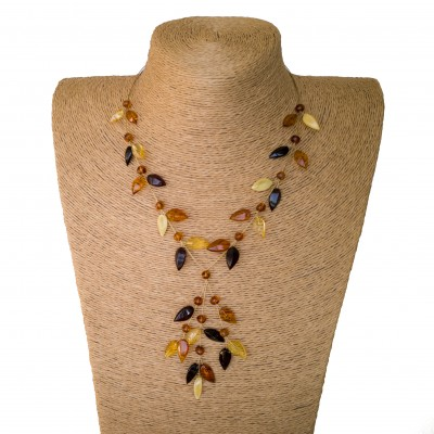 Y mix leafs wire necklace