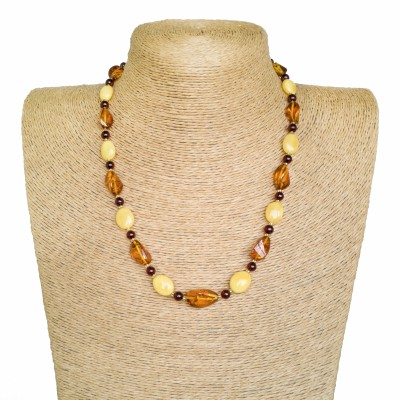 Yellow and cognac colors various details composition necklace