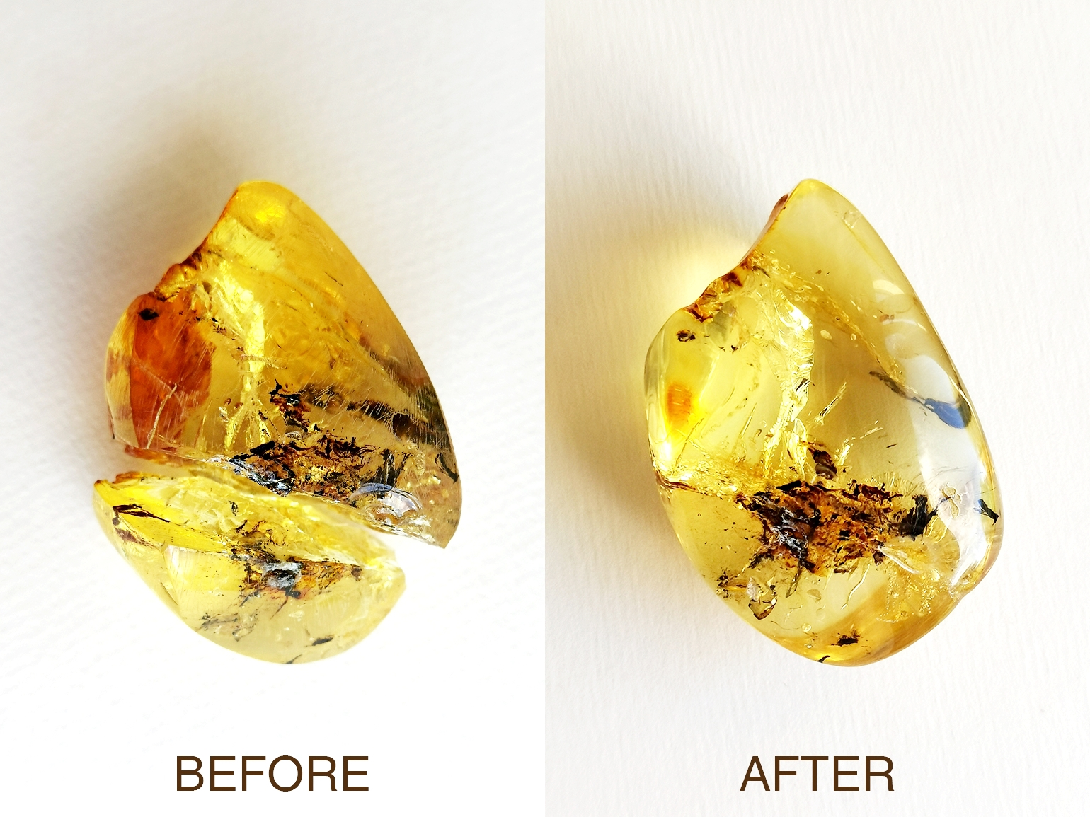healed amber with epoxy resin 1