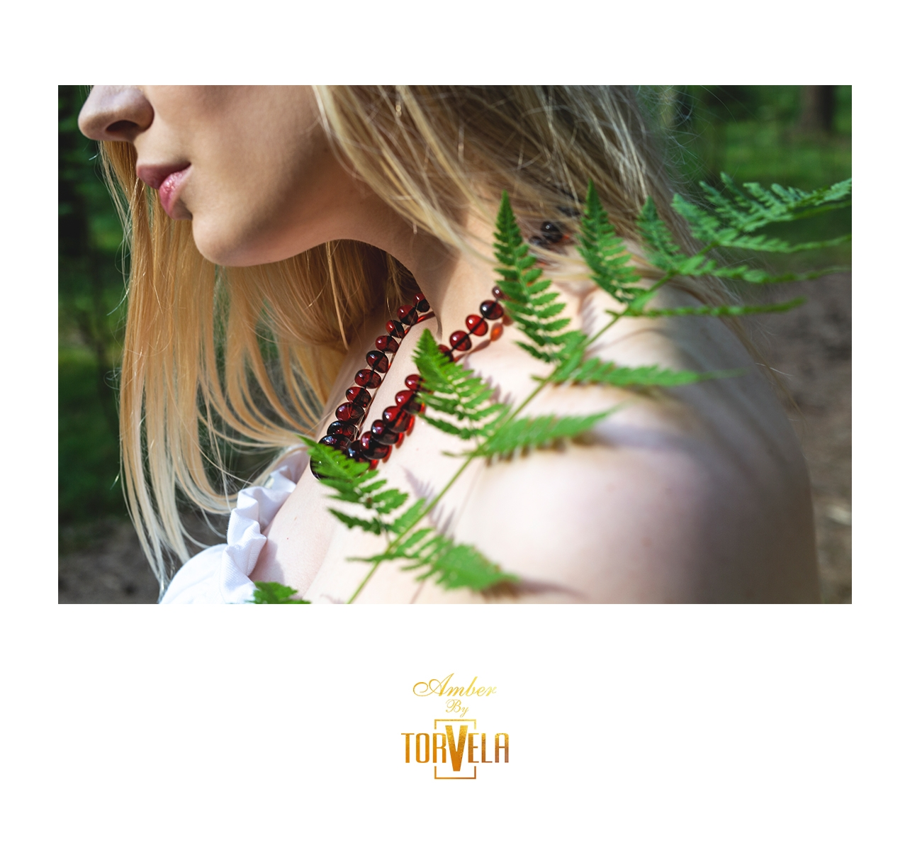 Fern and cherry color amber necklace